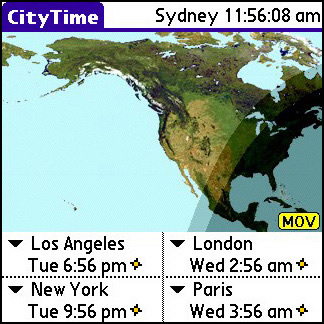 CityTime - Time zones visualized on a map in your PDA